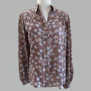 Winter Kate S Multi Gray Boho Vintage Silk Blouse